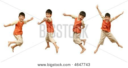 Boy Jumps On White Background.