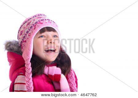 Happy Girl Wearing Warm Hat