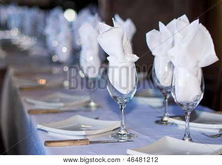 Set Table In A Restaurant