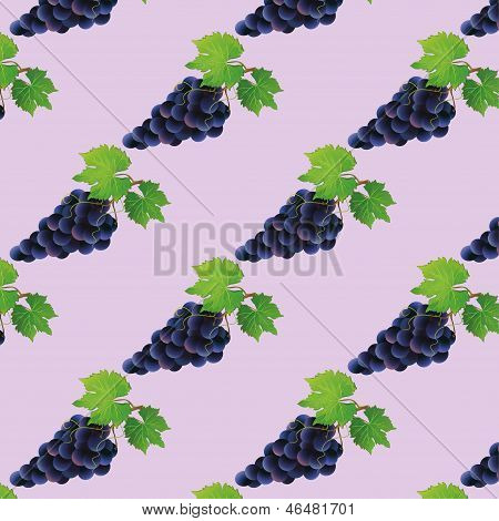 Background Seamless Pattern With Black Grape