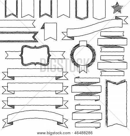 Vector Set of Bright Doodle Web Elements (filled with white)