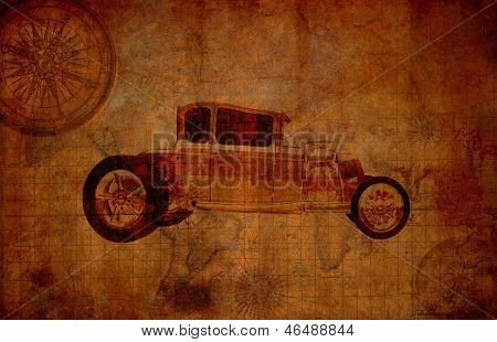 Grungy Vintage Travel Background With Oldsmobile