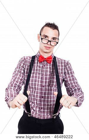 Nerd Man With Suspenders