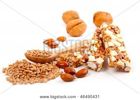 Protein Bars With Nuts, Isolated On White Background. / Muesli Bar Snack With Nuts And Wheat Grain