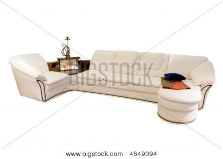 Leather Beige Angular Modern Sofa
