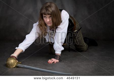 Girl On All Fours With Rapier