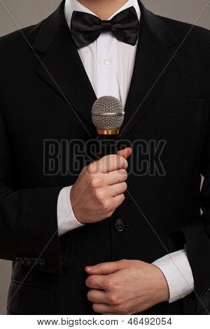 Master of ceremonies with microphone
