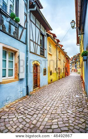 Colmar, Petit Venice, Narrow Street And Traditional Houses. Alsace, France.