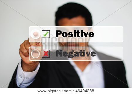 Male Professional Choosing Positive Option Against Negative Option