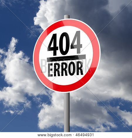 Road Sign White Red With Words 404 Error