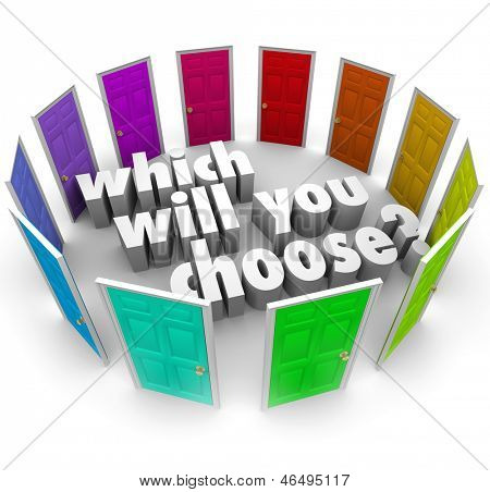 The question Which Will You Choose? surrounded by many different doors leading to opportunities in life, business, career or relationships