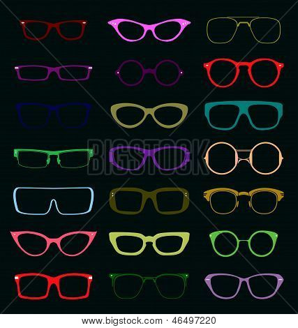 Vector Set: Vintage Glasses Silhouettes