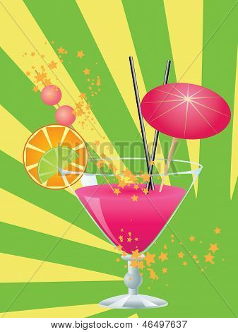 Pink Cocktail With Decorations