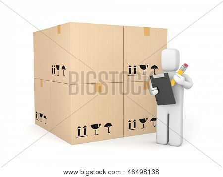 Person with clipboard and pencil among boxes