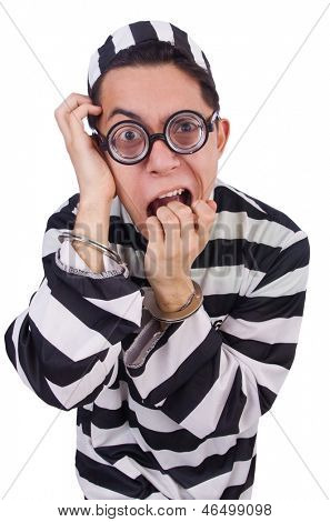Funny convict isolated on the white
