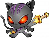 picture of ninja  - Ninja Warrior Kitten Cat Vector Illustration Art - JPG