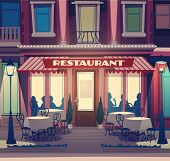 Restaurant-Fassade. Retro-Stil-Vektor-illustration
