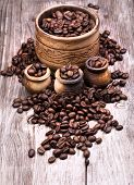 image of coffee grounds  - Closeup of coffee beans - JPG