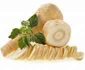 image of parsnips  - fresh parsnip roots heap isolated on a white background - JPG