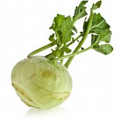 image of turnip greens  - kohlrabi cabbage isolated on white background - JPG