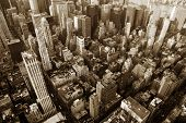 stock photo of empire state building  - New York City Manhattan skyline aerial view with Empire State and skyscrapers - JPG