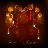 stock photo of kareem  - Illustration of Mosque on shiny abstract background for Ramadan Kareem - JPG