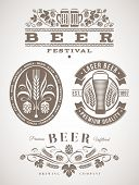 Beer emblems and labels - vector illustration