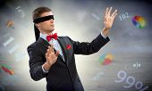 pic of blindfolded man  - young blindfolded man - JPG
