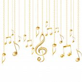 picture of treble clef  - Card with musical notes and golden treble clef on a white background - JPG