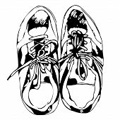 Sport shoes freehand sketch in black and white background, vector illustration
