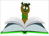 picture of bookworm  - A large bookworm reading a hardback book - JPG