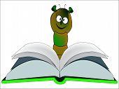 image of bookworm  - A large bookworm reading a hardback book - JPG
