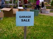 stock photo of yard sale  - Garage sale in an american weekend on the yard green lawn - JPG
