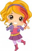 stock photo of pop star  - Illustration of Little Girl Pop Star holding a Wireless Microphone - JPG