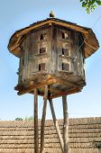 foto of pigeon loft  - Old rural wooden dovecote - JPG