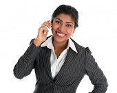 stock photo of pakistani  - Indian woman talking on phone - JPG