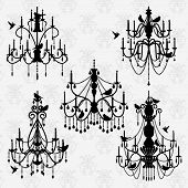 stock photo of chandelier  - Vector Set of Chandelier Vectors with Birds - JPG