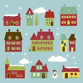 picture of quaint  - Cute and Quaint Little Vector Winter Village - JPG