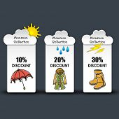 Monsoon offer and sale stickers, tags and labels.