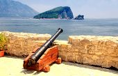 image of yugoslavia  - An old cannon in a fortress Budva with Adriatic sea view (Montenegro)
