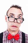 foto of crazy face  - Shocked nerd man making funny face isolated on white background - JPG