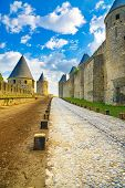 Carcassonne Cite, Medieval Fortified City On Sunset. Unesco Site, France