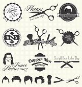 stock photo of bowler hat  - Collection of retro style barber shop labels and icons - JPG