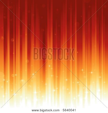 Stars and defocused light dots on red golden vertically striped background