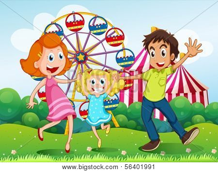Illustration of a happy family at the carnival in the hilltop