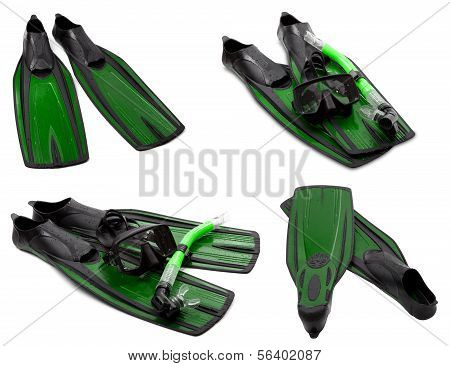 Set Of Green Flippers, Mask, Snorkel For Diving With Water Drops