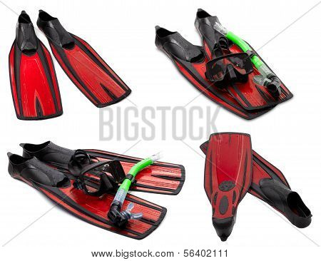 Set Of Red Flippers, Mask, Snorkel For Diving With Water Drops