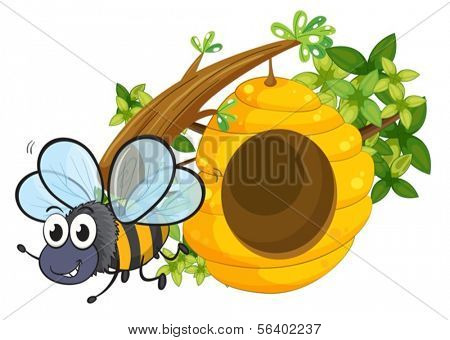 Illustration of a small bee near the beehive on a white background