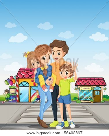 Illustration of a family at the pedestrian lane