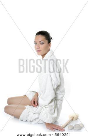 Beautiful Bathrobe White Natural Woman